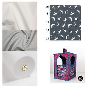 Birds on Silver Fat Quarter Storage Kit: Pattern, Style-Vil & Fabric (1.5m)