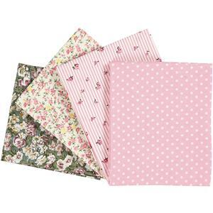 Light Pink Floral & Check 4 Piece Fat Quarter Pack