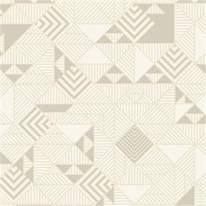 Libs Elliot Stealth Triangles on Beige Fabric 0.5m