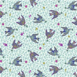 Woodland Walk The Swallows on Azure Fabric 0.5m