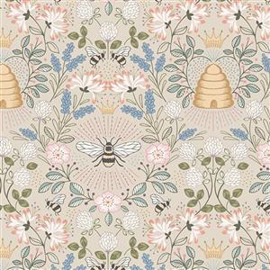 Lewis & Irene Queen Bee Beehive Scenes On Natural Fabric 0.5m