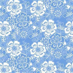 Blue Bayou Floral Blue Fabric 0.5m