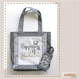 Amber Makes Charcoal Framed Tote Kit, Instructions & Fabric Panel