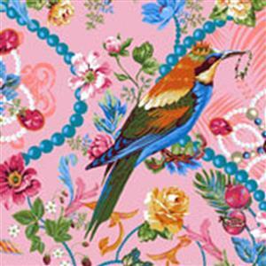 Jardin De La Reine The Queen's Jewels on Rose Fabric 0.5m