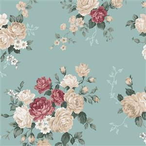 Emily in Sky Blue Large Rose Fabric 0.5m
