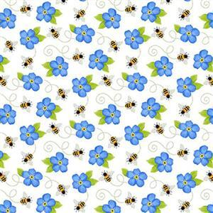 Sunny Sunflowers in Blue Bee Fabric 0.5m