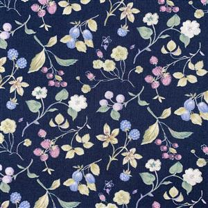 Country Floral Purple Multi Berries on Blue Fabric 0.5m Exclusive