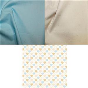 Blue & Neutral Hearts Fabric Bundle (1.5m)