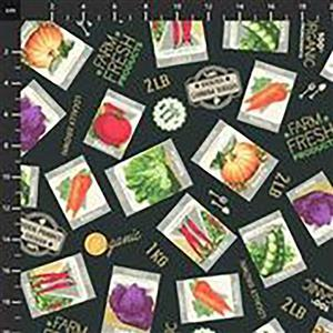 Certified Delicious Seed Packets On Black Fabric 0.5m