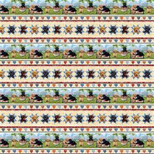 Pups in The Garden in Puppy Picnic Fabric 0.5m