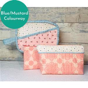 Living in Loveliness Fabulously Fast Fat Quarter Fun Issue 8 Pretty Bags; 3 x Liberty FQs Blue/Mustard  & 1 x FQ cork