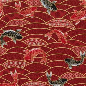 Beppu Koi On Wine Fabric 0.5m