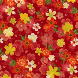 Sevenberry Gold Metallic Traditional Japanese Flower Bloom Red Fabric 0.5m