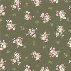 Vintage Roses Moss Fabric 0.5m