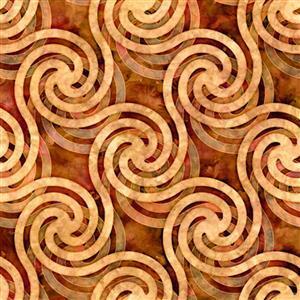 Dan Morris Adagio Orange Circle Swirl Fabric 0.5m