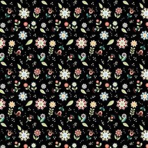 Poppie Cotton Chick-A-Doodle-Doo Pickin Daisies on Black Fabric 0.5m UK exclusive