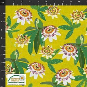 Garden Passion Flowers on Mustard Fabric 0.5m