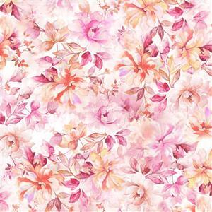 Emma Pink Floral Wide Backing Fabric 0.5m (274cm)