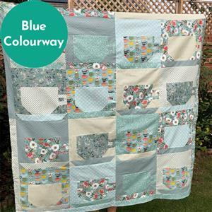 Blue Riley Blake Tea with Bea Quilt Kit: Instructions & Fabric (4m). Get half a metre free.