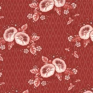 Moda Roselyn in Red & White Floral Fabric 0.5m