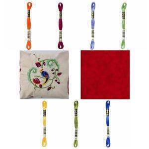 Claret Tropical Bird Kit, Instructions, Pre-Printed Panel, Thread & FQ