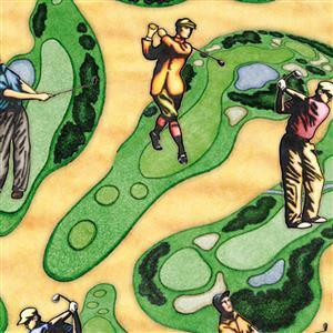 Dan Morris Chip Shot Golf Course Scenic Sand Claret Fabric 0.5m