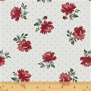 Camilla Flowers on Silver Spot Fabric 0.5m