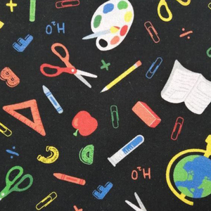 School Days Back To School Black Fabric 0.5m