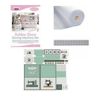 Debbie Shore's Green Sewing Machine Set Kit: Fabric Panel, Instructions & Haberdashery