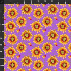Sassy Summer Salsa Orange Flower Fabric 0.5m