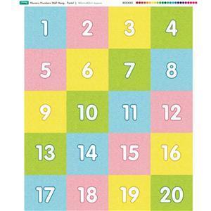 Nursery Wall Hang Numbers Pastel Fabric Panel 70x85cm