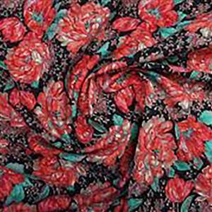 Peony Passion Noir Cotton Poplin Fabric 0.5m