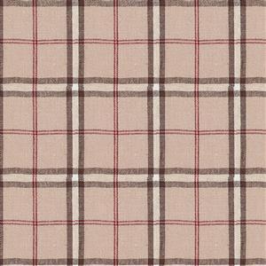 Shabby Chic Plaid Cotton Linen Design Beige and Black Fabric 0.5m