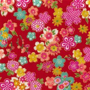 Sevenberry Gold Metallic Traditional Japanese Colourful Flowers Red Fabric 0.5m