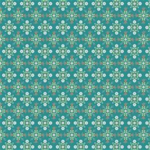 Poppie Cotton Chick-A-Doodle-Doo Café Curtains on Teal Fabric 0.5m UK exclusive