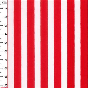 Red Stripes on White Fabric 0.5m