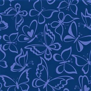 Blue Bayou Navy Butterfly Fabric 0.5m