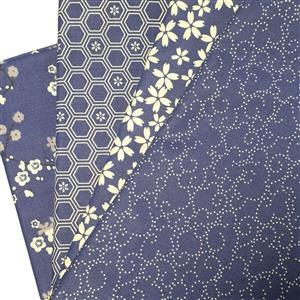 Sew with Beth 4 x 0.5m Fabric Bundles (160cm wide): Blue / Ivory