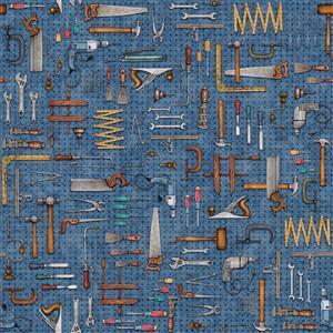 Dan Morris A Little Handy Peg Board Tools Workshop Navy Fabric 0.5m