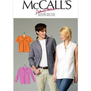 McCall's Women's & Men's Shirt Sewing Pattern Sizes S-L