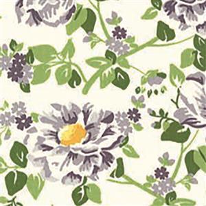 Moda Homestead Purple Flowers on Cream Fabric 0.5m
