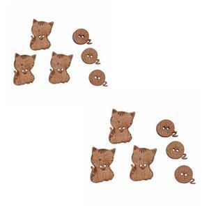 2 Packs Cats Wooden Buttons (12 Pieces)