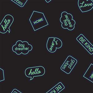 Lewis & Irene Small Things Glow Logos On Navy Fabric 0.5m