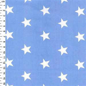 Rose & Hubble Cotton Poplin Pale Blue Stars Fabric 0.5m