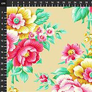 True Kisses Flirty Floral in Sand Fabric 0.5m