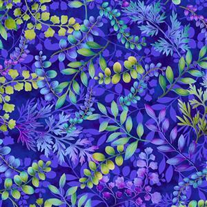 Henry Glass Gossamer Garden in Dark Blue Leaf Fabric 0.5m