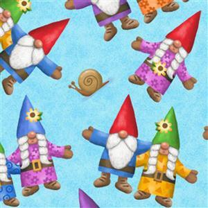 Home Sweet Gnome Garden Party on Blue Fabric 0.5m