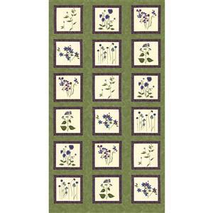 Moda Violet Hill Green Floral Panel in Celery 60 x 112cm