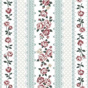 Emily in Aqua Rose Stripe Fabric 0.5m