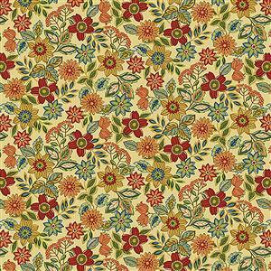 Henry Glass Farm to Market Wildflower on Cream Fabric 0.5m